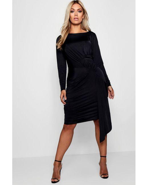 Boohoo - Black Plus Slinky Tie Front Mini Dress - Lyst