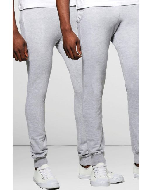 Boohoo | Gray Super Skinny Joggers In 2 Pack for Men | Lyst