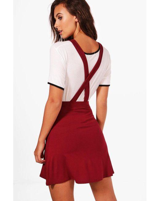 Boohoo   Red Petite Tilly Cross Back Pinny Dress   Lyst