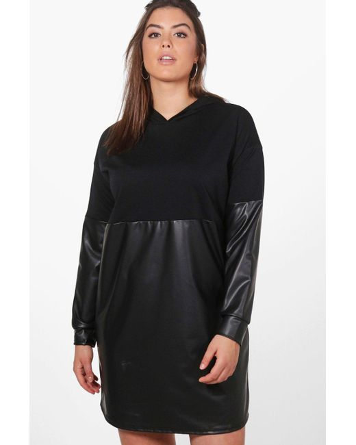 Boohoo | Black Plus Louise Leather Look Contrast Sweat Dress | Lyst