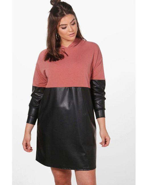 Boohoo | Multicolor Plus Louise Leather Look Contrast Sweat Dress | Lyst
