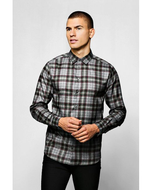 a1fb5b5b Boohoo - Gray Grey Check Long Sleeve Shirt for Men - Lyst ...