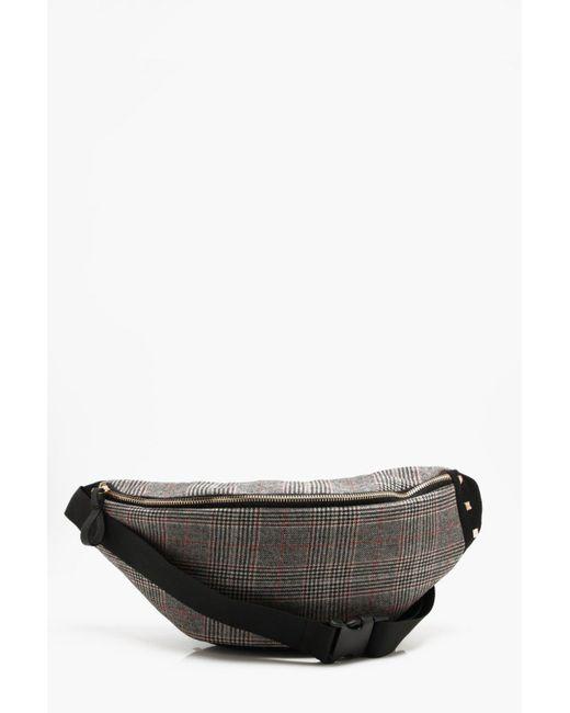 0f2ea7d1f761 Boohoo - Black Wool Check Bumbag for Men - Lyst ...