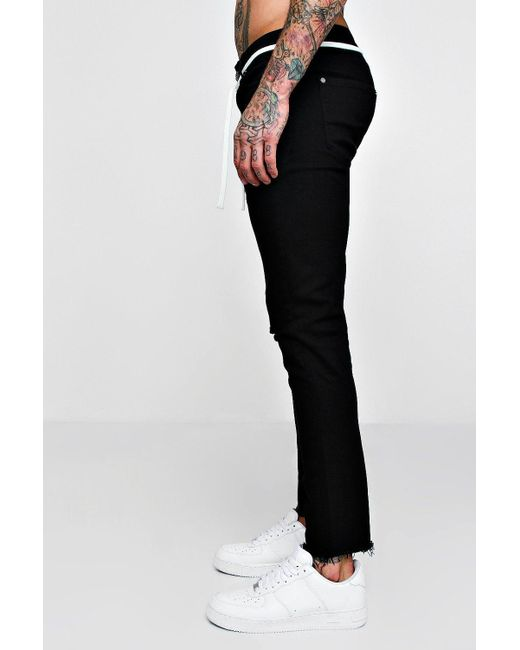 5d2349ae019b1 ... BoohooMAN - Black Skinny Fit Distressed Jeans With Ny Embroidery for Men  - Lyst
