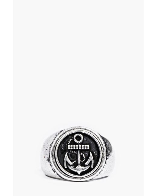 Boohoo - Metallic Brushed Silver Anchor Signet Ring for Men - Lyst