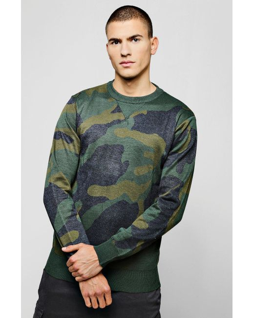 Boohoo - Green Camo Jacquard Knitted Jumper for Men - Lyst