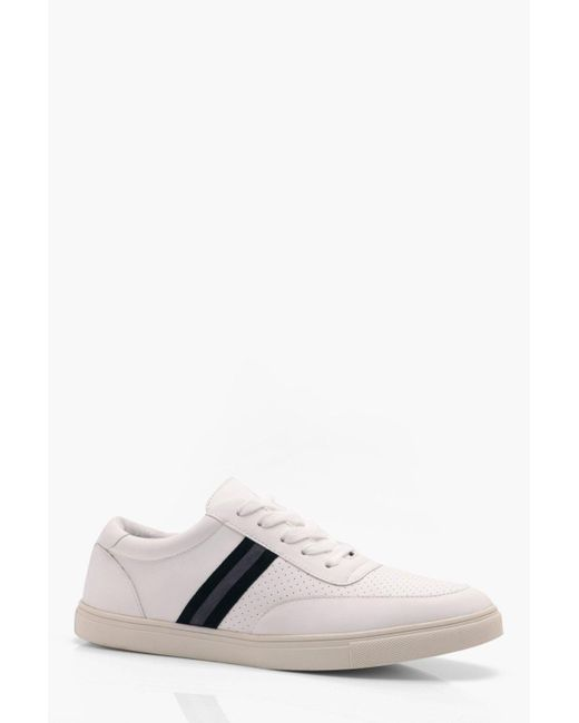 Boohoo - White Side Tape Faux Leather Trainer for Men - Lyst