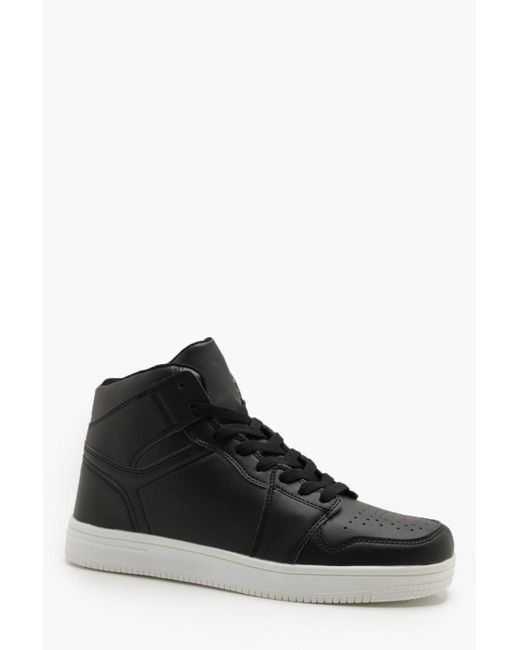 Boohoo - Black Faux Leather Sporty Hi Top for Men - Lyst