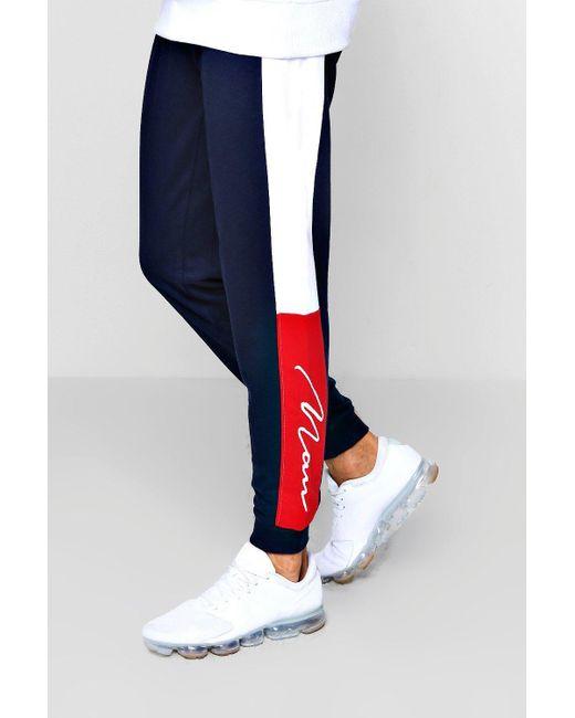 BoohooMAN - Blue Slim Fit Colour Block Man Signature Joggers for Men - Lyst