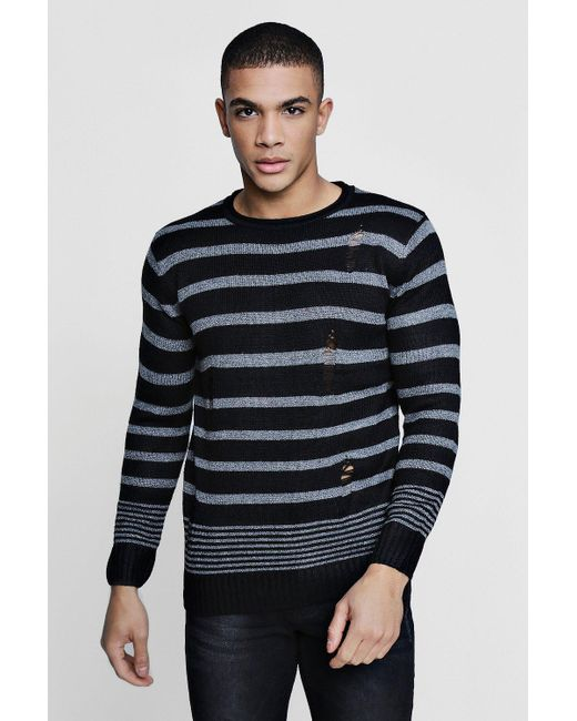 Boohoo - Black Multi Stripe Distress Jumper for Men - Lyst