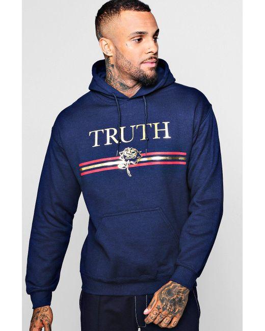Boohoo - Blue Truth Foil Print Hoodie for Men - Lyst