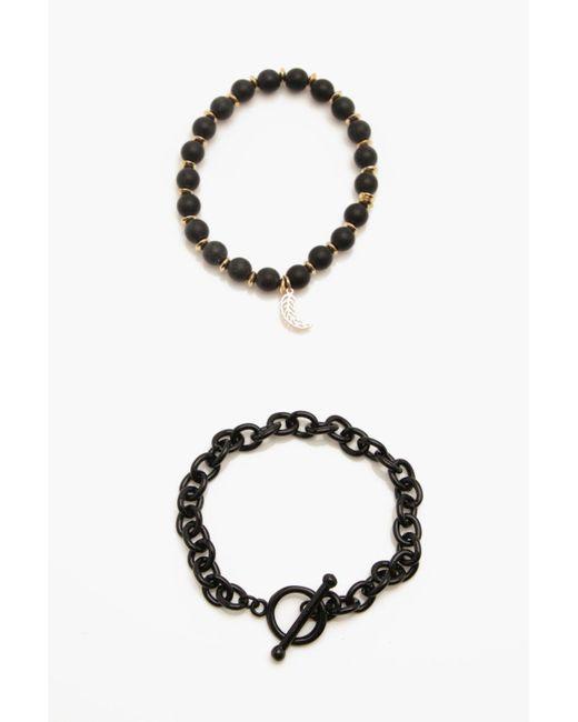 Boohoo - Black Metal Bead Bracelet Pack for Men - Lyst