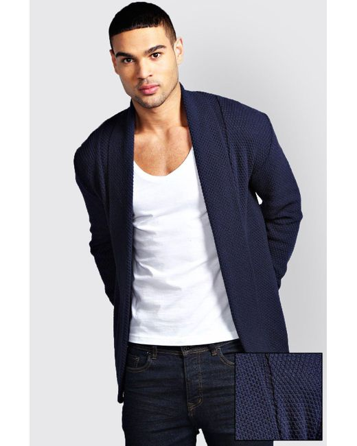 Boohoo | Blue Textured Cardigan for Men | Lyst