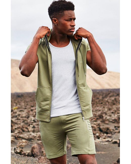 Boohoo   Green Sleeveless Zip Through Hoodie for Men   Lyst