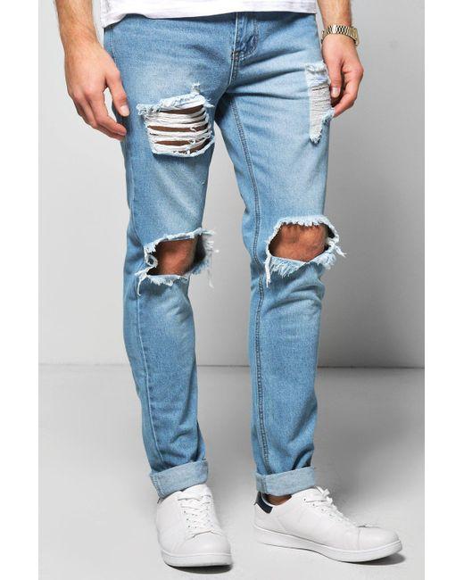 Boohoo | Blue Skinny Fit Vintage Wash Rigid Jeans for Men | Lyst