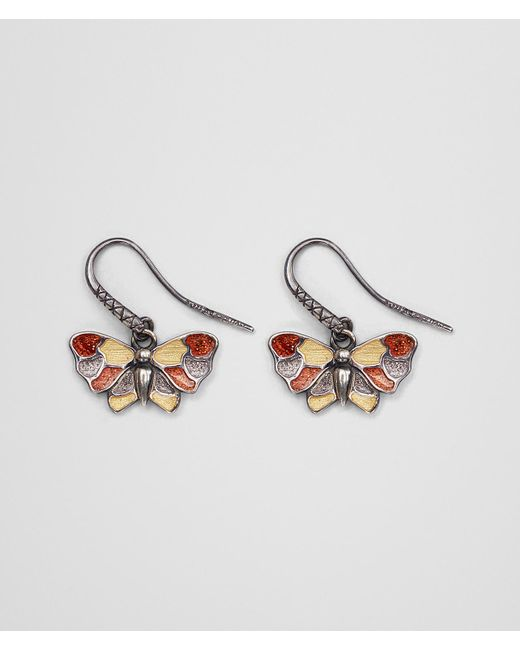 Bottega Veneta - Metallic Multicolor Antique Silver Butterfly Earrings - Lyst