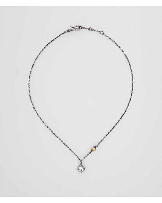 Bottega Veneta - Metallic Cubic Zirconia/enamel/silver Pendant - Lyst