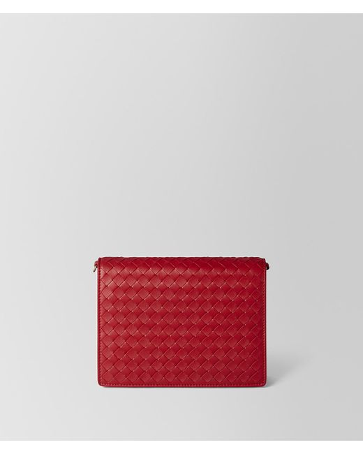 Bottega Veneta - China Red Intrecciato Nappa Chain Wallet - Lyst
