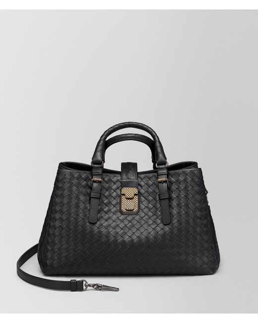 efbdcb7fa2 Bottega Veneta - Black Nero Intrecciato Calf Small Roma Bag - Lyst ...