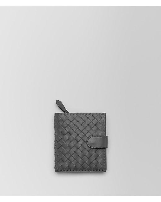 8cf63748f6f1 Bottega Veneta Light Gray Intrecciato Nappa Mini Wallet in Gray - Lyst