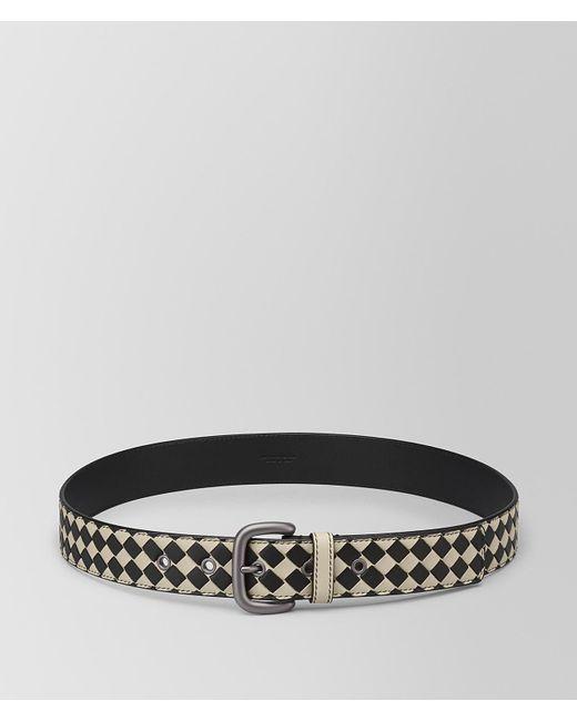Bottega Veneta - Black Cement/nero Intrecciato Checker Nappa Belt for Men - Lyst