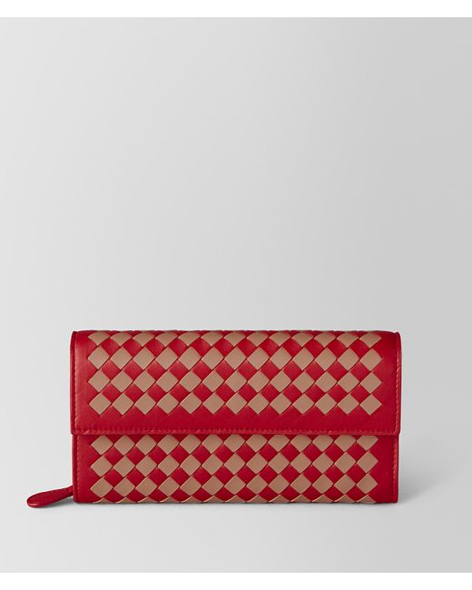 Bottega Veneta - China Red/dahlia Intrecciato Checker Continental Wallet - Lyst