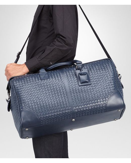 4f2834a596 ... Bottega Veneta - Blue Large Duffel Bag In Light Tourmaline Intrecciato  Vn for Men - Lyst ...