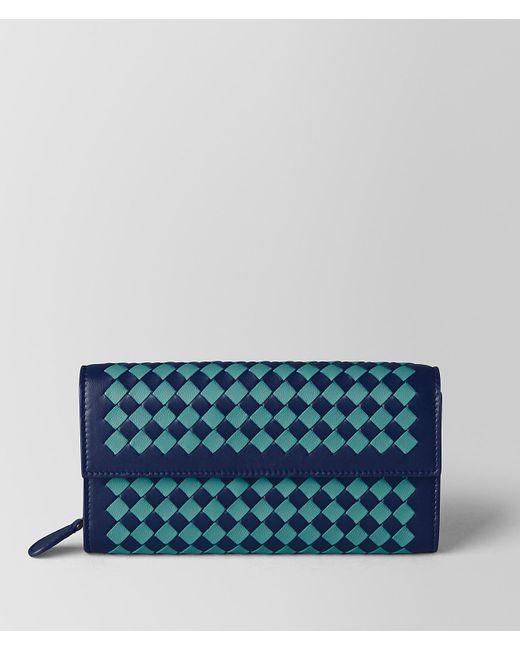 Bottega Veneta - Blue Atlantic/aqua Intrecciato Checker Continental Wallet - Lyst