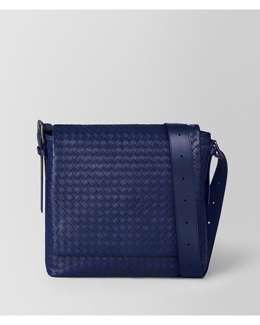 Bottega Veneta - Blue Atlantic Intrecciato Calf Messenger for Men - Lyst