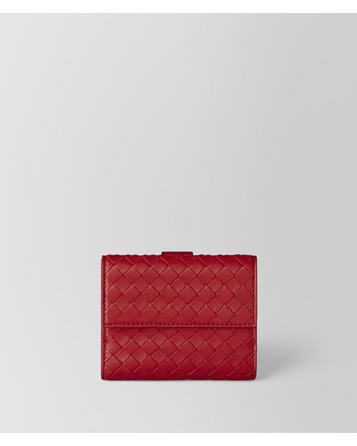 Bottega Veneta - Red Espresso Intrecciato Nappa Mini Wallet - Lyst