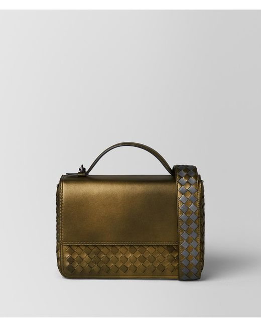 954a5472116b Bottega Veneta - Metallic Dark Gold Intrecciato Nappa Alumna Bag - Lyst ...