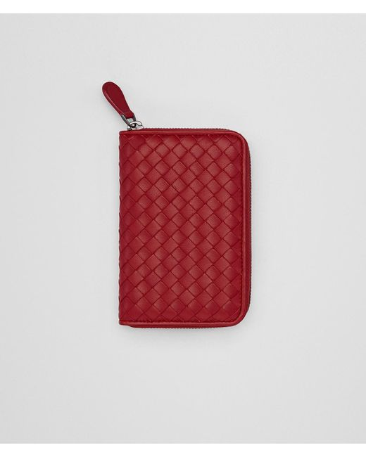 Bottega Veneta - Zip-around Wallet In China Red Intrecciato Nappa Leather - Lyst
