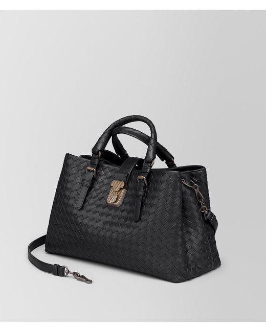 302834a4b7f2 ... Bottega Veneta - Black Nero Intrecciato Calf Small Roma Bag - Lyst ...