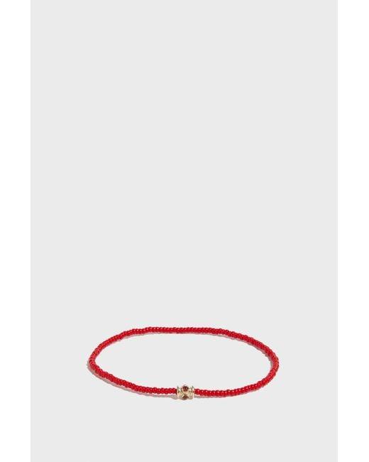Luis Morais - Multicolor Barrel Rubies Beaded Bracelet, Size Os, Men, Red - Lyst