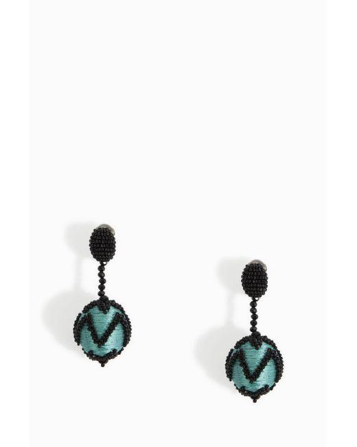Oscar de la Renta | Multicolor Chevron Ball Earrings | Lyst
