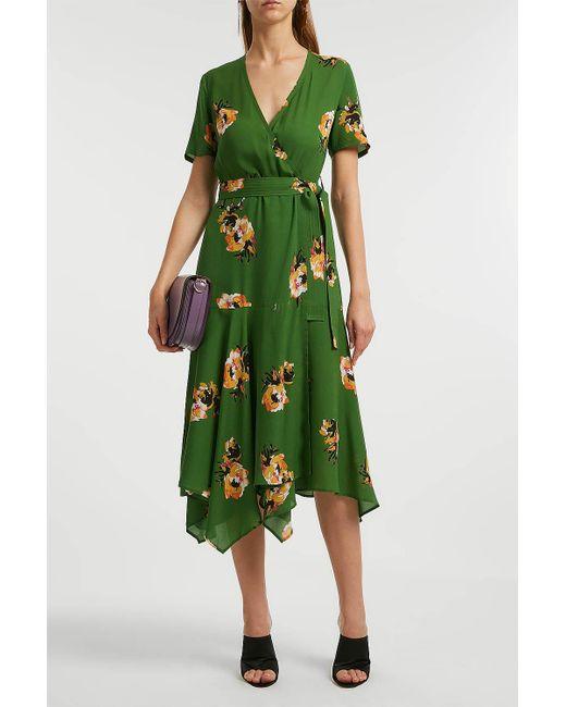 A.L.C. - Green Cora Floral Silk Wrap Midi Dress - Lyst