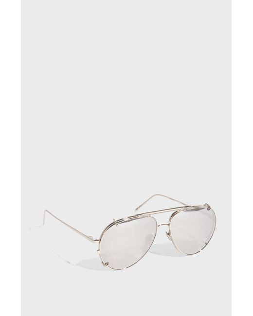 Linda Farrow - Metallic Aviator-style Silver-tone Sunglasses, Os - Lyst
