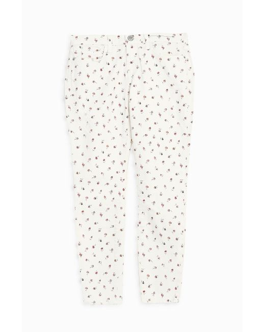 Current/Elliott | White The Fling Floral-print Mid-rise Slim Boyfriend Jeans | Lyst