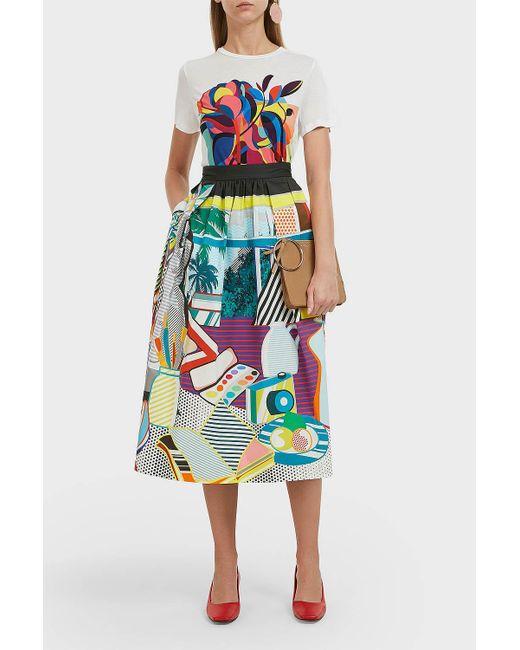 3fbbbe7fee Mary Katrantzou - Blue Bowles Printed Cotton-blend Midi Skirt - Lyst ...