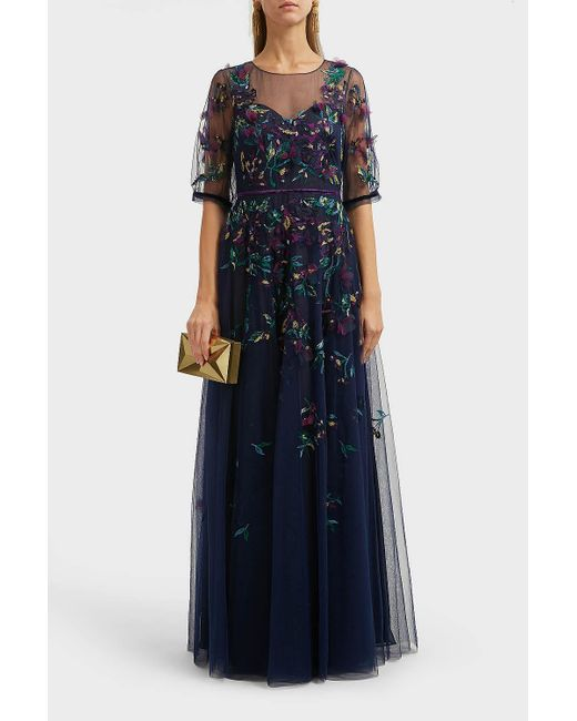 b484f204bd61 Marchesa notte - Blue Bead-embellished Embroidered Tulle Gown - Lyst ...