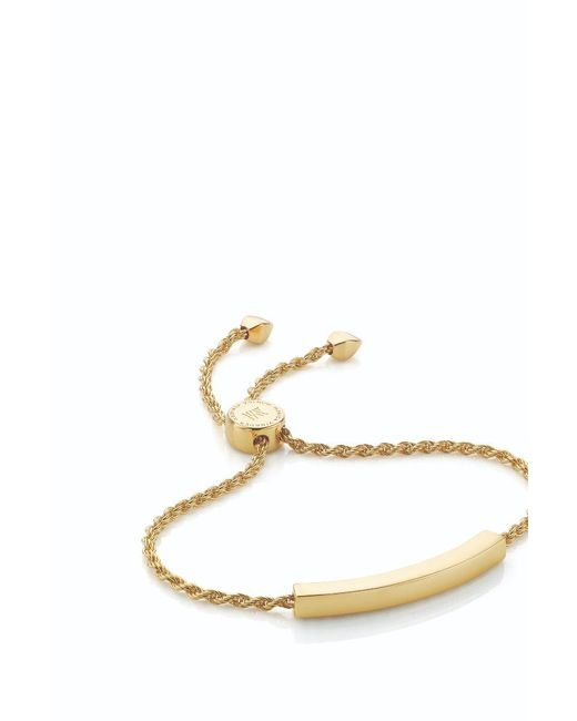 Monica Vinader - Metallic Linear Diamond And Chain Bracelet - Lyst