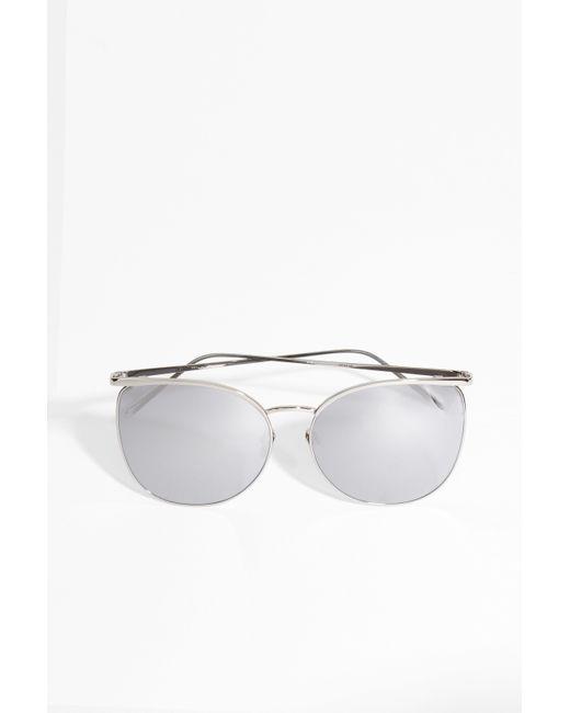 Thin Gold Frame Sunglasses : Linda farrow White Gold Thin Frame Sunglasses in Metallic ...
