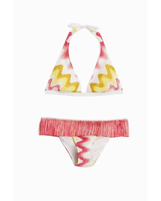missoni zigzag fringed bikini in yellow lyst. Black Bedroom Furniture Sets. Home Design Ideas