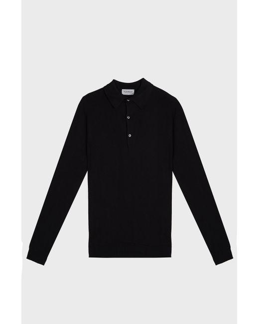 9758bdf3 John Smedley - Black Bradwell Cotton Polo Shirt for Men - Lyst ...