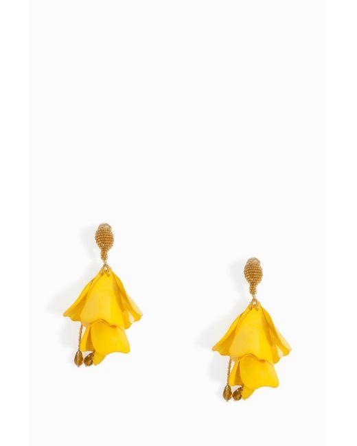 Oscar de la Renta | Yellow Impatiens Flower Drop Earrings | Lyst