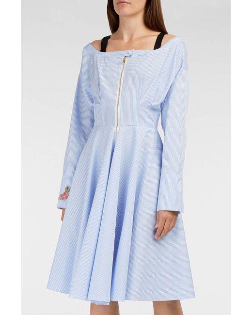 Natasha Zinko | Blue Cold-shoulder Pinstriped Cotton-blend Midi Dress | Lyst