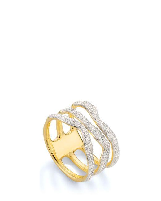Monica Vinader | Metallic Riva Diamond Wave Ring | Lyst