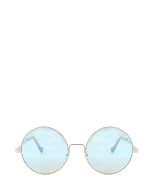 Cutler & Gross - Blue Round Mirror Sunglasses, Size Os, , Silver - Lyst