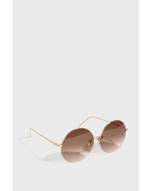 Linda Farrow - Brown Round-frame Gold-tone Sunglasses, Os - Lyst