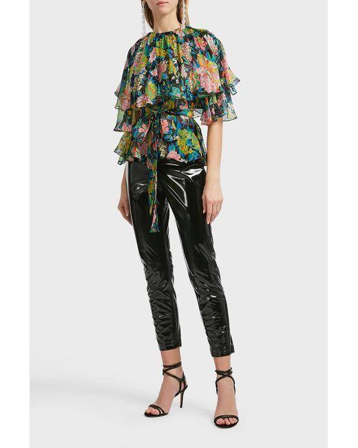 MSGM Black Printed Silk Blouse